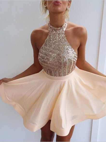 Sexy Halter Short Rose Gold Sparkly Homecoming Dress Cocktail Dress under  100… 7bb69414720a
