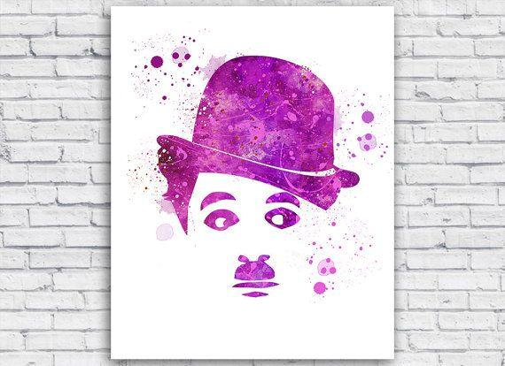 Charlie Chaplin Watercolor print Charlie Chaplin by Toons4Fun