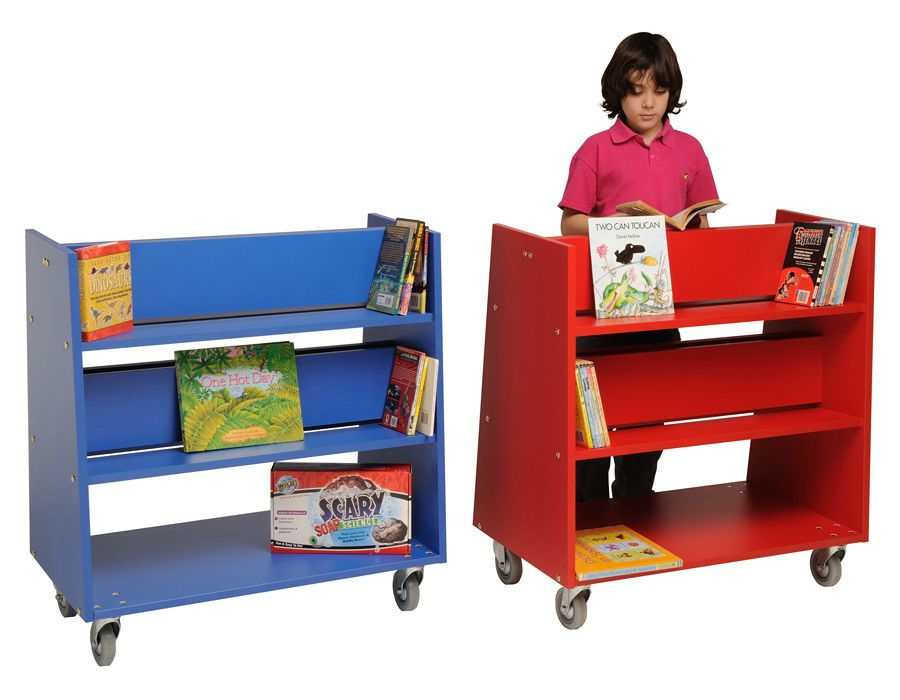 Double Sided Mobile Library Unit With 2 Shelves Each
