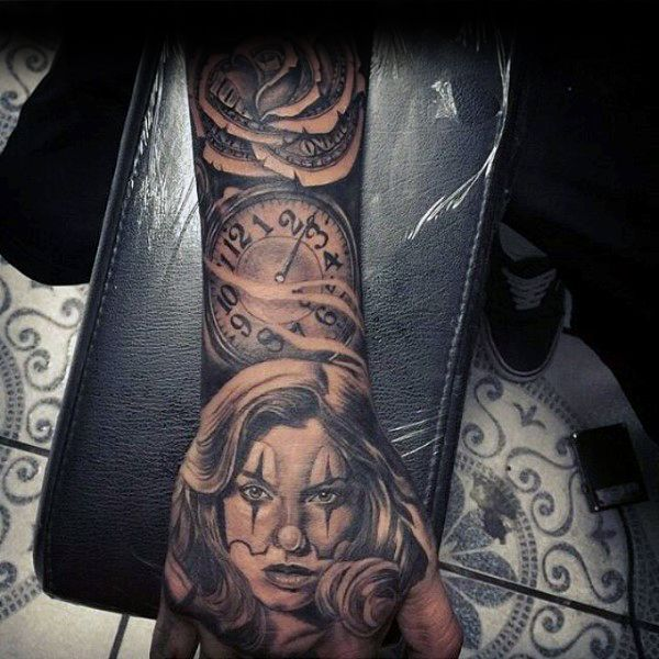 Mens clock with money rose sleeve and hand tattoo for Money tattoo sleeve