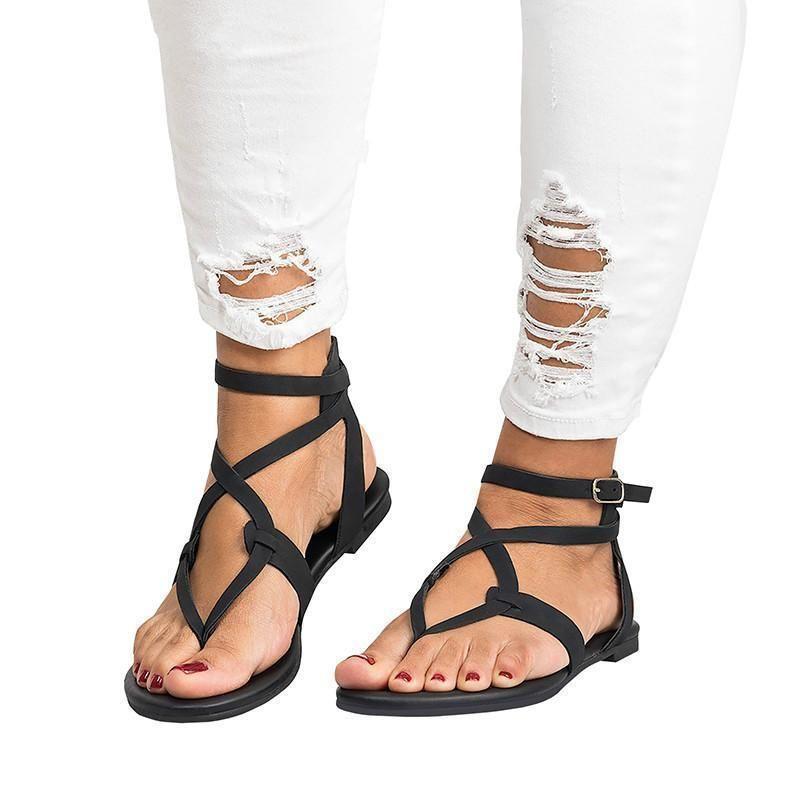 New women shoes sandal flat gladiator t strap summer casual back zipper yellow