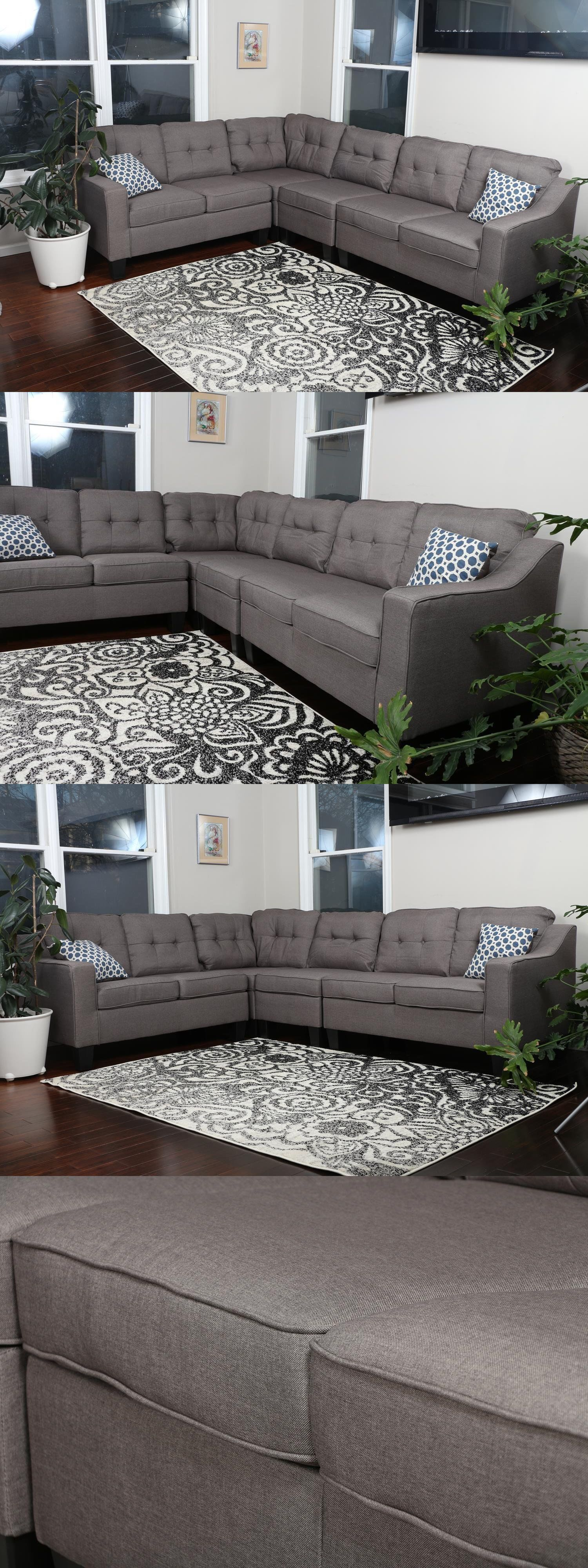Sofas Loveseats and Chaises Reversible Grey Brown 4Pc
