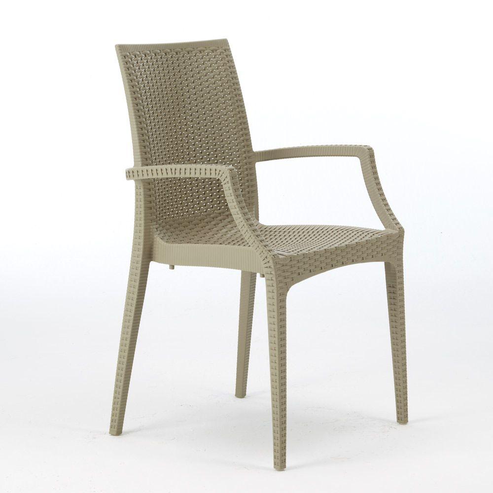 Sedie Da Giardino In Plastica Grand Soleil.Sedie Poltrona Con Braccioli Bar Ristorante Polyrattan Bistrot Arm
