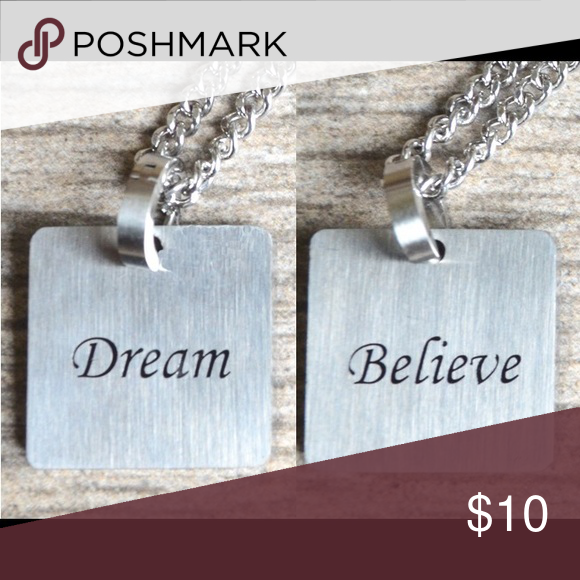 2 4 16 Follow Your Dream Believe 1 Double Sided Square Pendant With The Words Follow Yo Womens Jewelry Necklace Stainless Steel Necklace Square Pendant