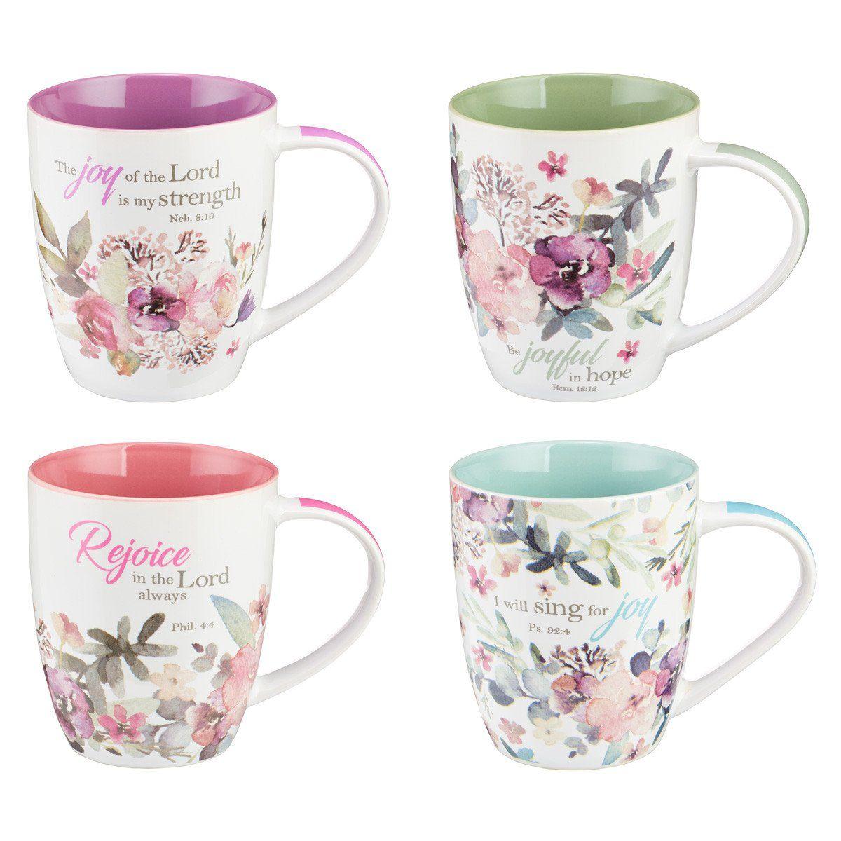 Rejoice Collection Set of 4 Coffee Mug Set   Christian art ...