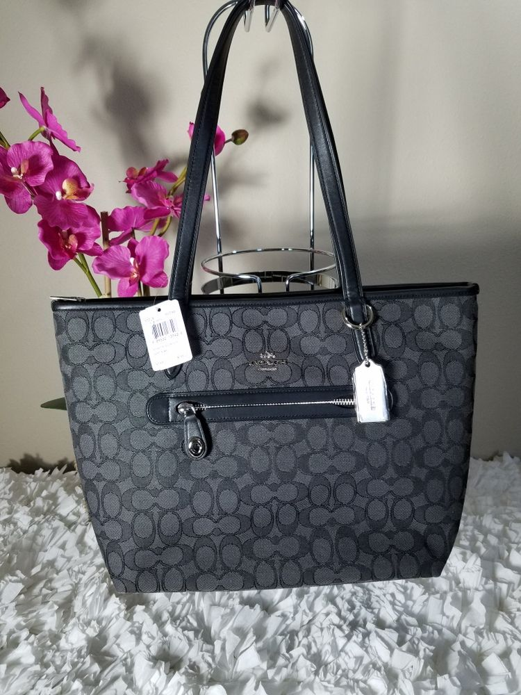 3d9ec8ab399b COACH Signature Taylor Tote – Smoke Black and Silver