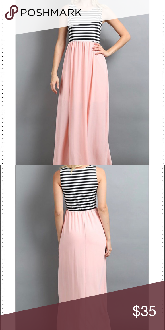 bc2dc6d309e Peach  Stripe Jersey Knit Maxi STRIPE JERSEY KNIT TANK MAXI DRESS WITH SOLID  WOVEN SKIRTS