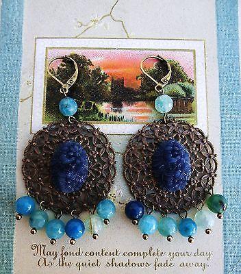 Cameo Vittoriano Orecchini con cabochon epoca blu e agata azzurra