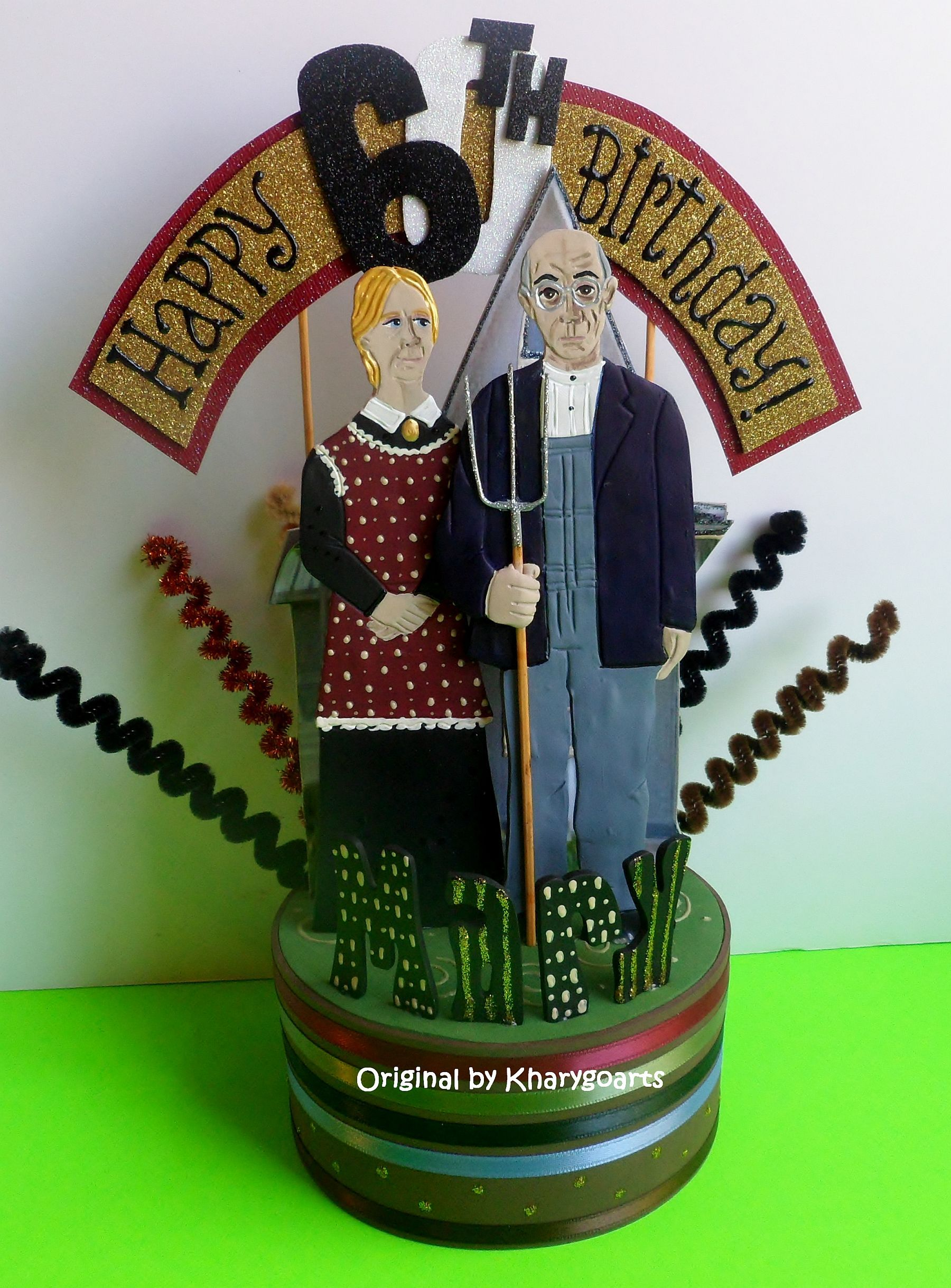 "60th. Birthday ""American Gothic"" themed Look Alike Cake topper original design by Kharygoarts"