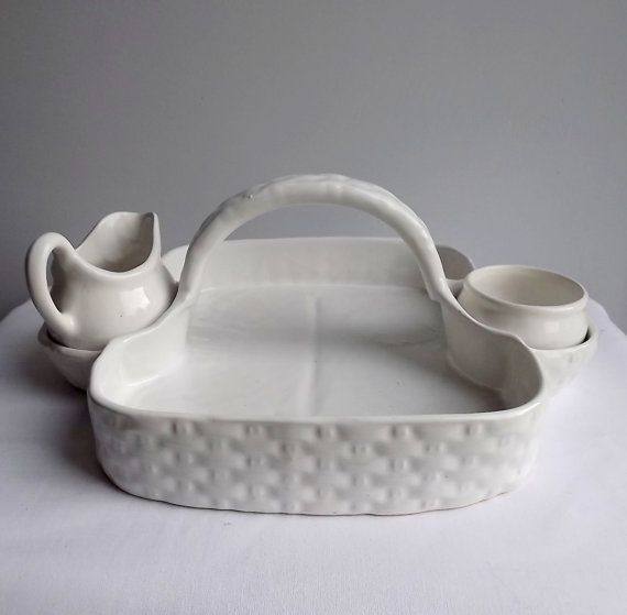 Vintage White Ceramic Woven Basket With Creamer And Bowl