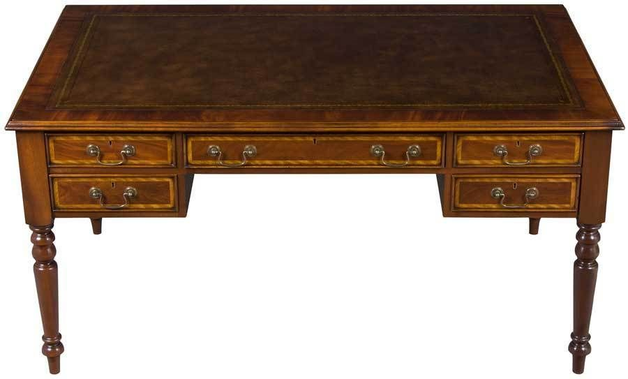 Antique Style New Five Drawer Writing Desk Library Table Leather Top Hand  Made | eBay - Antique Style New Five Drawer Writing Desk Library Table Leather Top