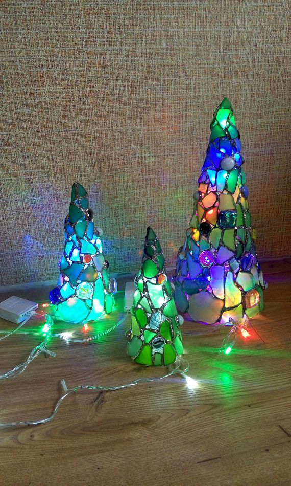 Tiffany stained glass green sea glass Christmas tree home ...