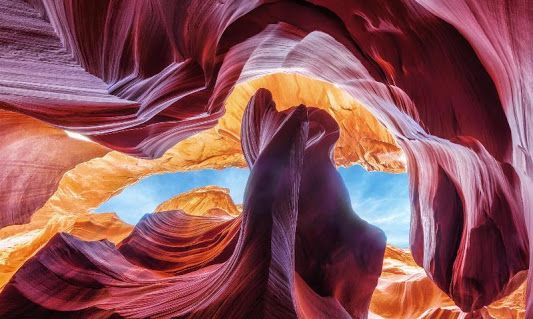 Colorful beam lights in the American Southwest Antelope Canyon cave