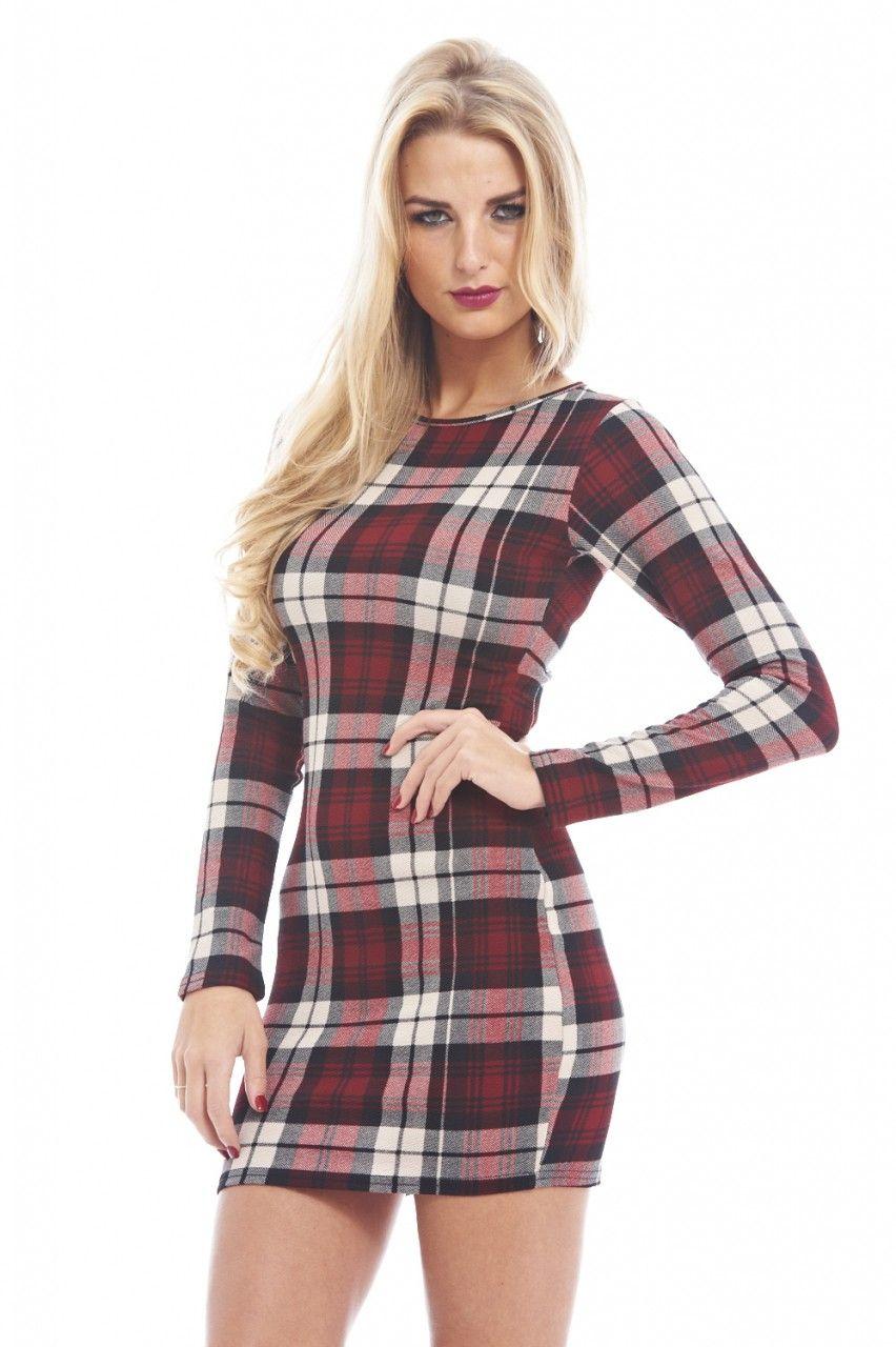 AX Paris Long Sleeve Tartan Check Bodycon Dress
