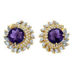 Amethyst, Diamond, and Yellow Gold Earrings