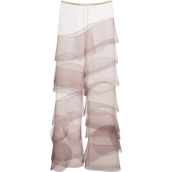 Marc Jacobs Crinkle Organza Flared Ruffle Pants (24.130 VEF) ❤ liked on Polyvore featuring pants, marc jacobs, marc jacobs pants, flare leg pants, flare pants and flared leg pants