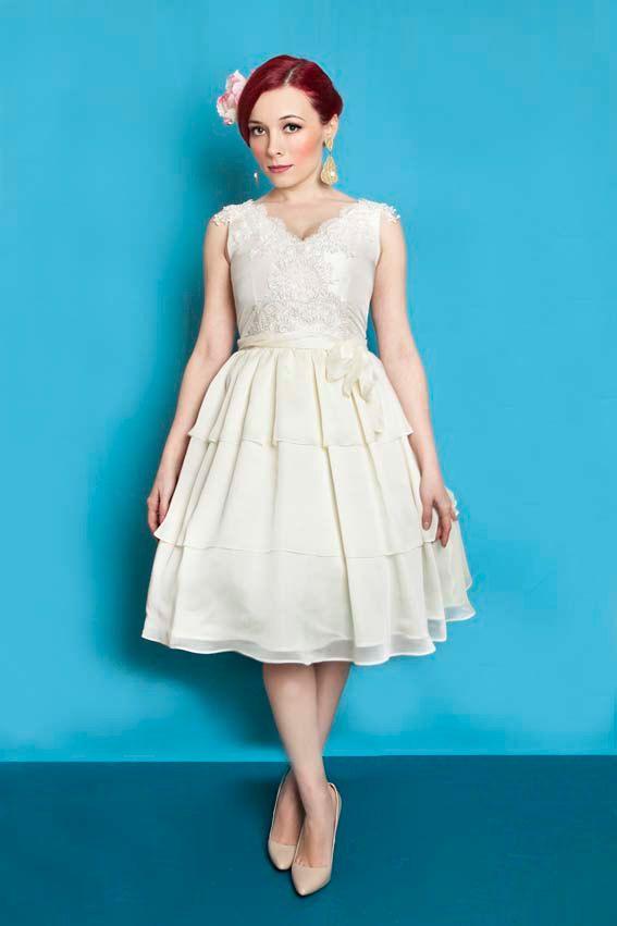 1950s inspired ivory taffeta wedding dress, 50s short tiered lace ...