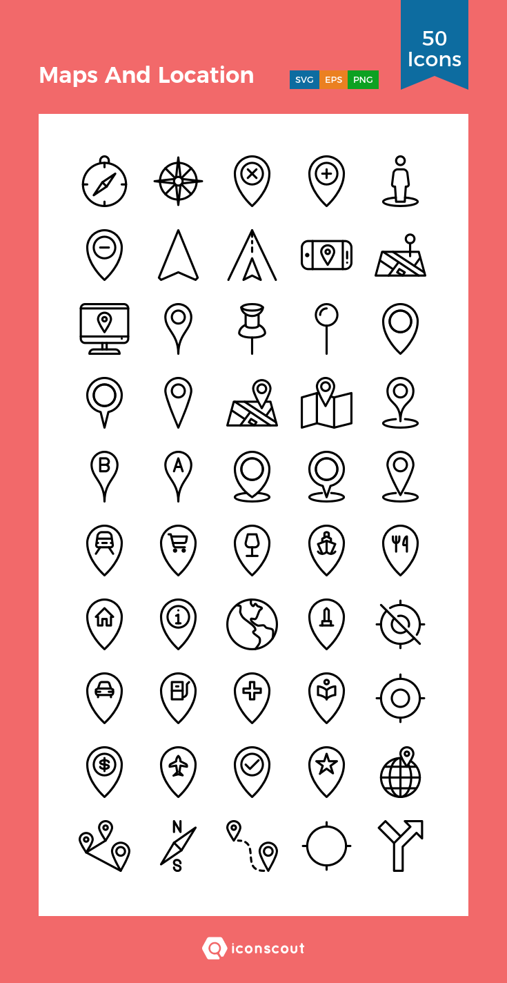 Maps And Location Icon Pack 50 Line Icons Location