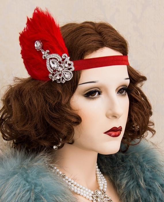 38f66640b Great Gatsby Rhinestone Headpiece Red Feather and Crystal Hair Clip ...