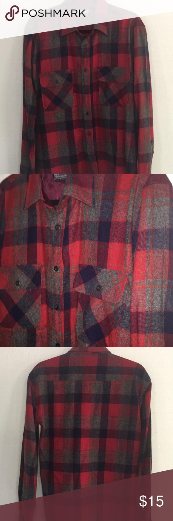 Fieldmaster wool blend plaid shirt. Size L. Fieldmaster