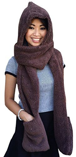 f5e91cfdf2e AM Landen Ladies Wool Velvet Soft All In One Soft Hood Hats Scarf Gloves (Brown