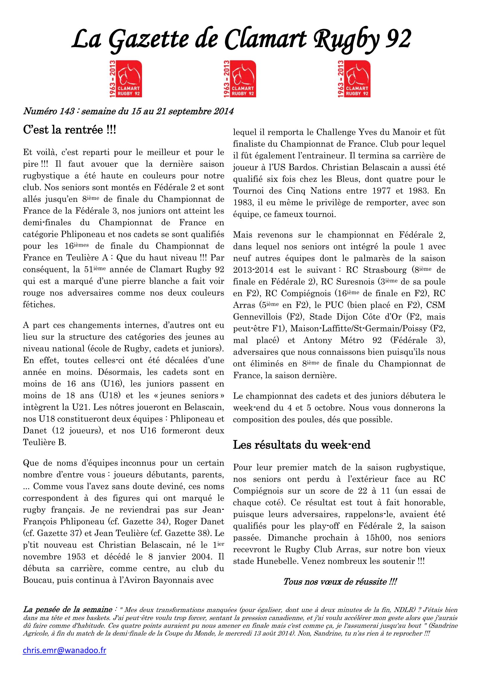 Gazette - 2014-2015 - Fédérale 2 - N° 143