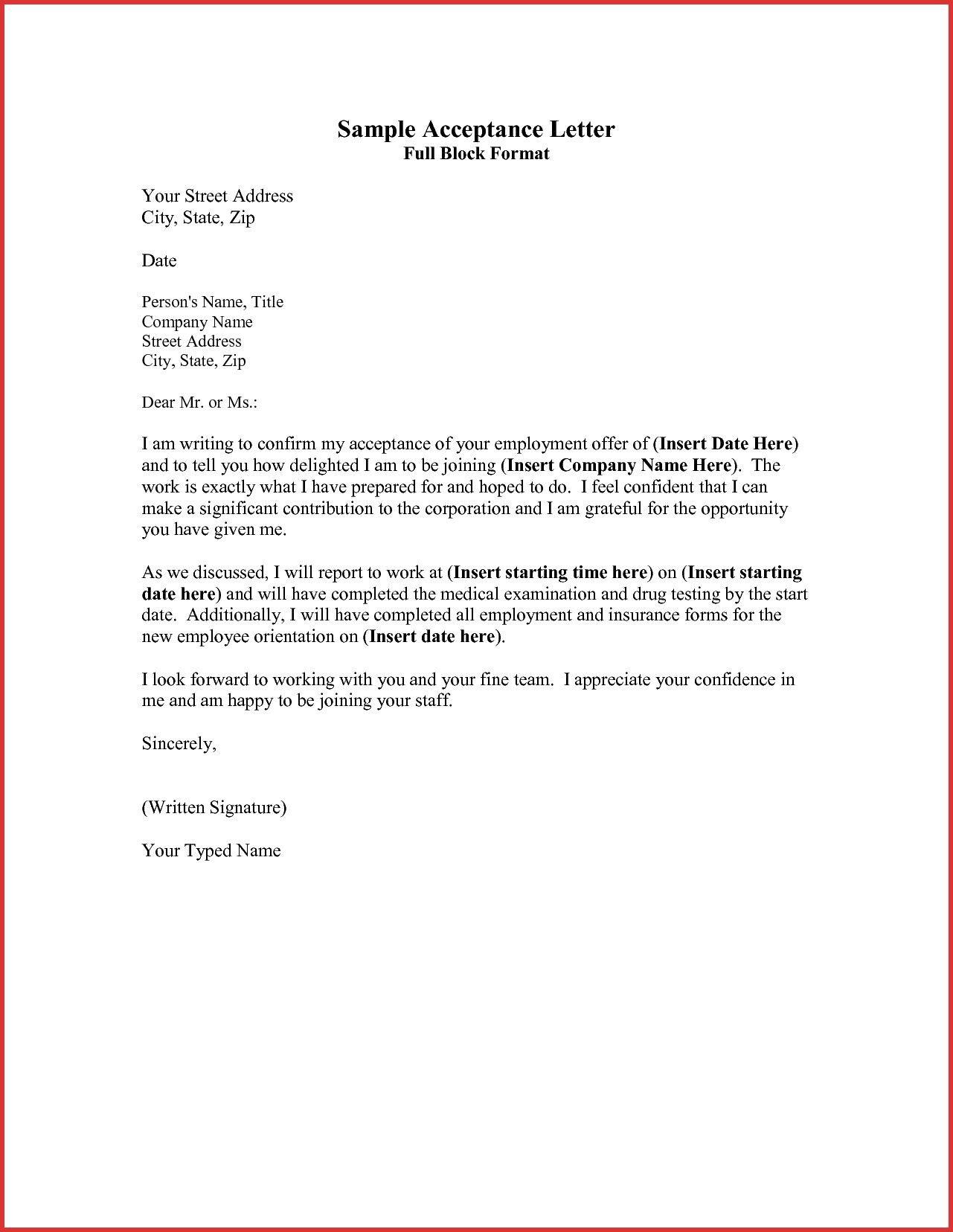 Best Refrence New Sample Letter Full Block Format By Httpwaldwert Visit Detail Http Org Samp Acceptance Lettering Busines Essay