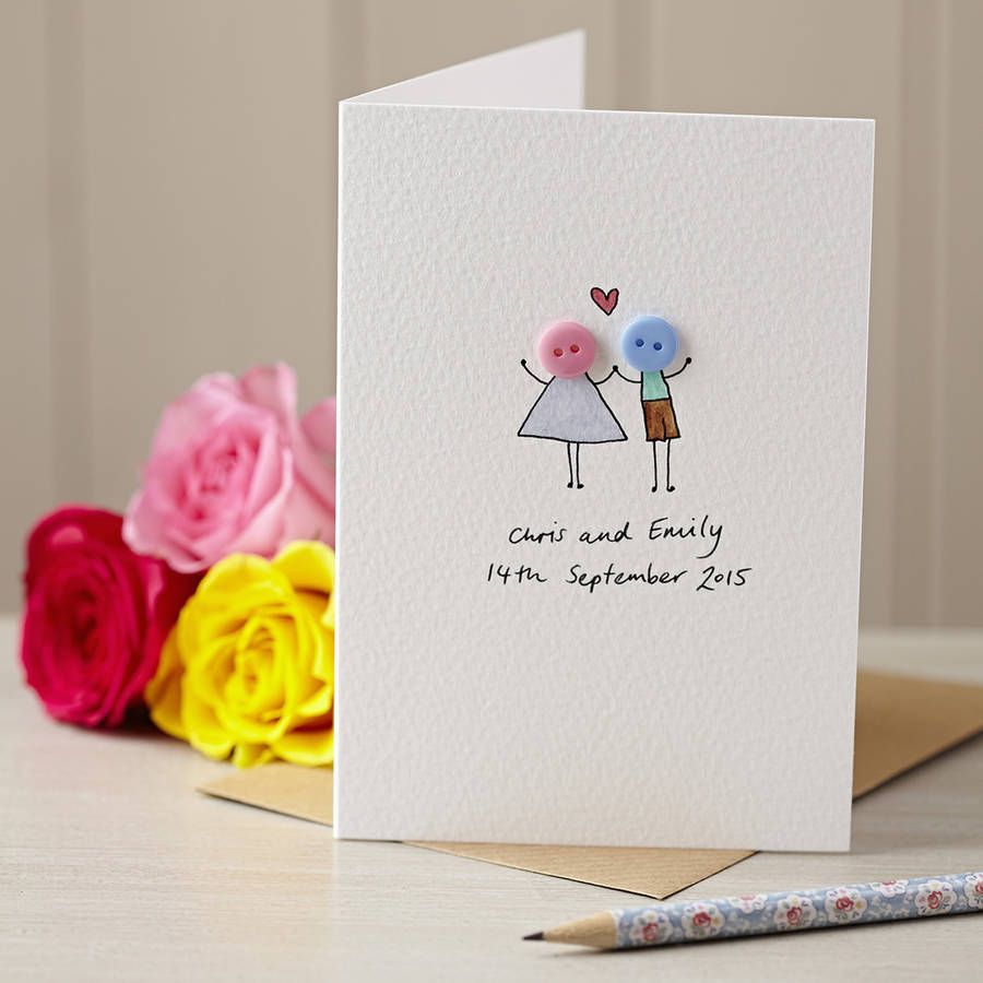 personalised 'button love' hand illustrated card