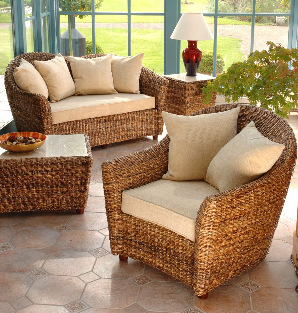 Cane chairs with cushions - Modern Rattan Conservatory Furniture Ideas Like Rattan Couch And Armchair Also Rattan Coffee Table And Occasional Table With White Marble Countertops Also