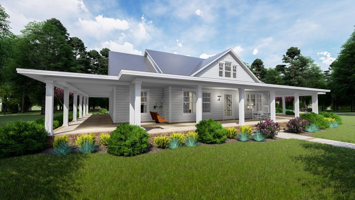 Plan 16901wg Modern Farmhouse Plan With Wraparound Porch And Bonus Room Modern Farmhouse Plans House With Porch Farmhouse Plans