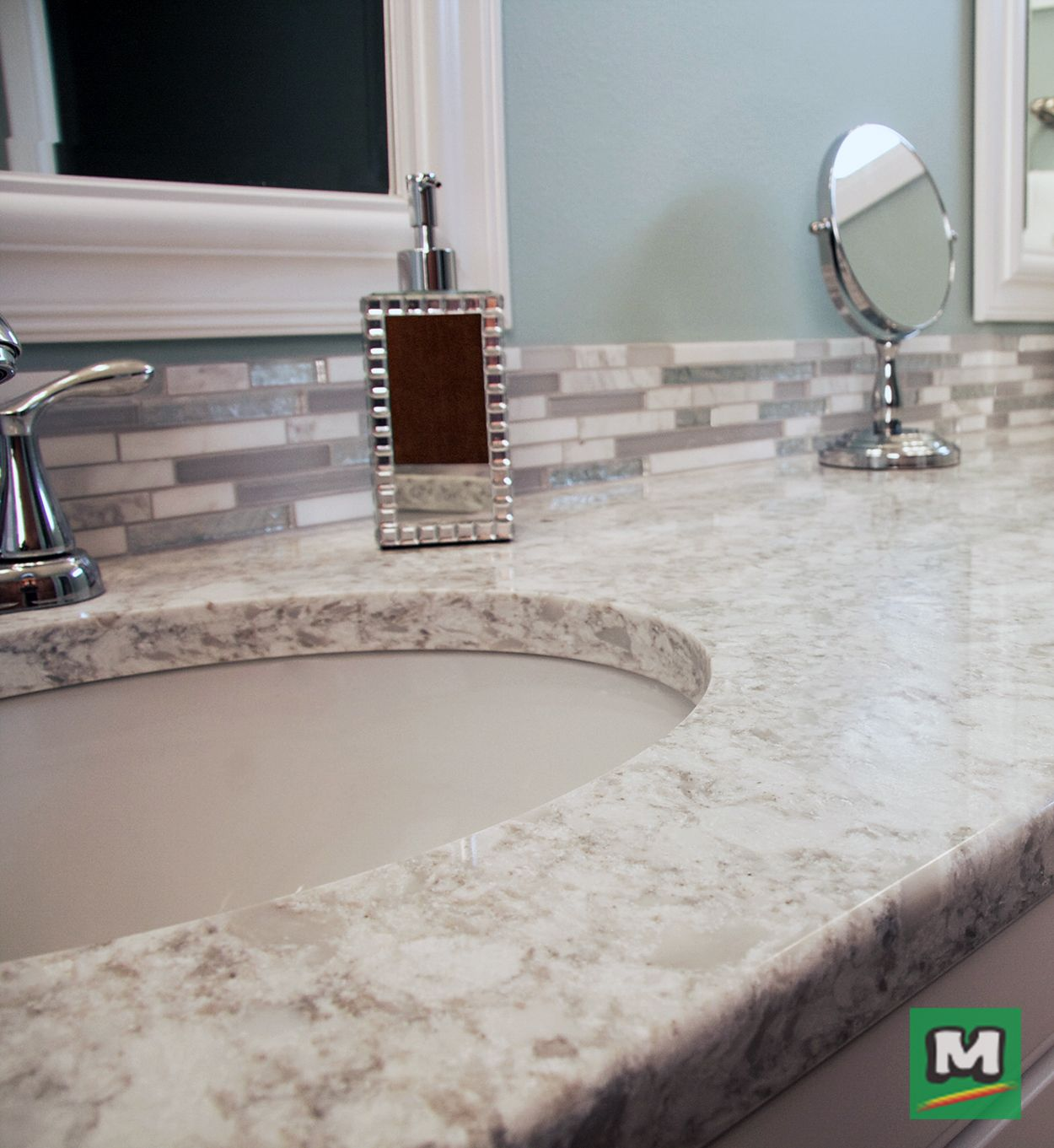 Better Your Bathroom With Riverstone Quartz Countertops Shown In Flaked Pearl Available