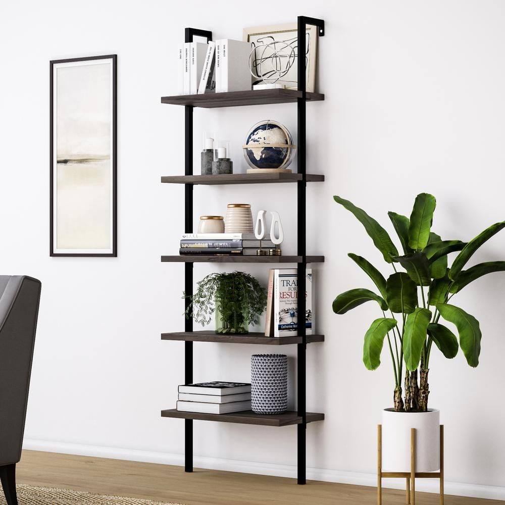 Nathan James Theo Warm Nutmeg Brown 5 Shelf Ladder Bookcase With Metal Frame Etagere Echelle Echelle Bois Bibliotheque Murale