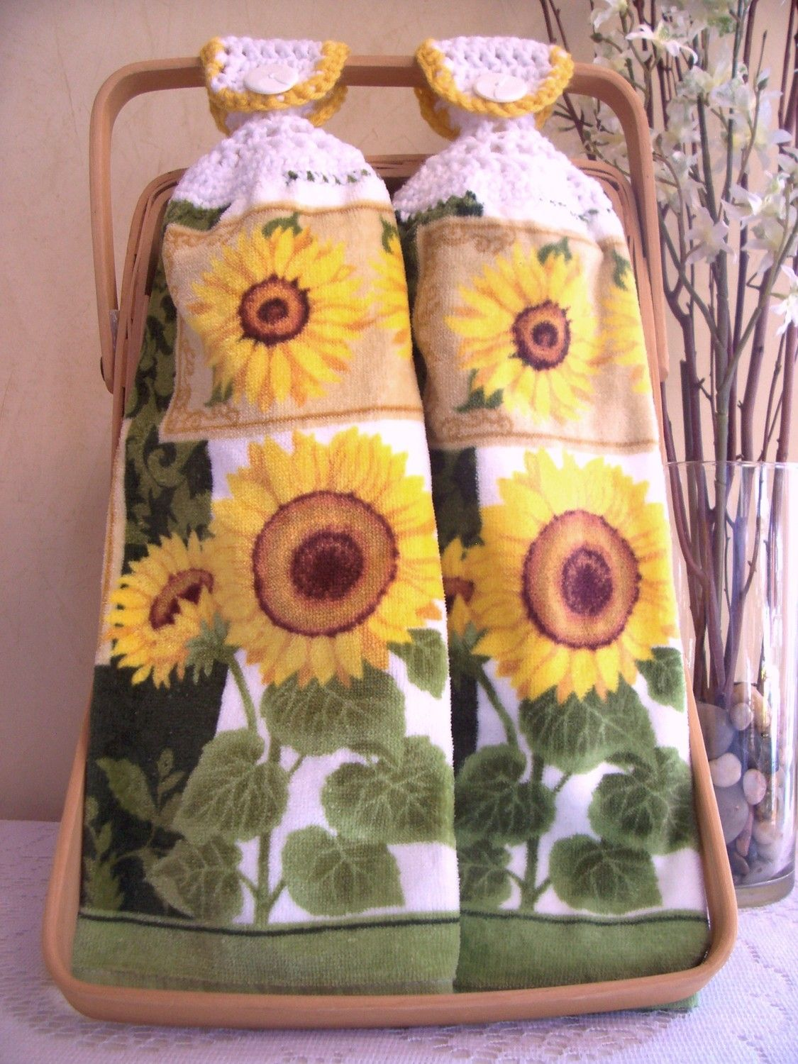 Sunflower Kitchen Stuff | Sunflower Hanging Kitchen Hand Towels by ...