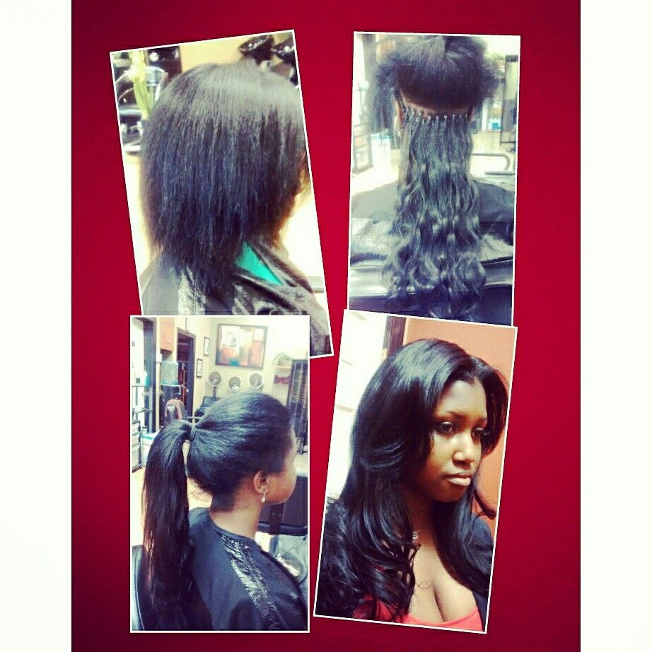 Micro Link Hair Extensions Before And After Black Hair Extensions Microlink Hair Extensions Black Hair With Highlights