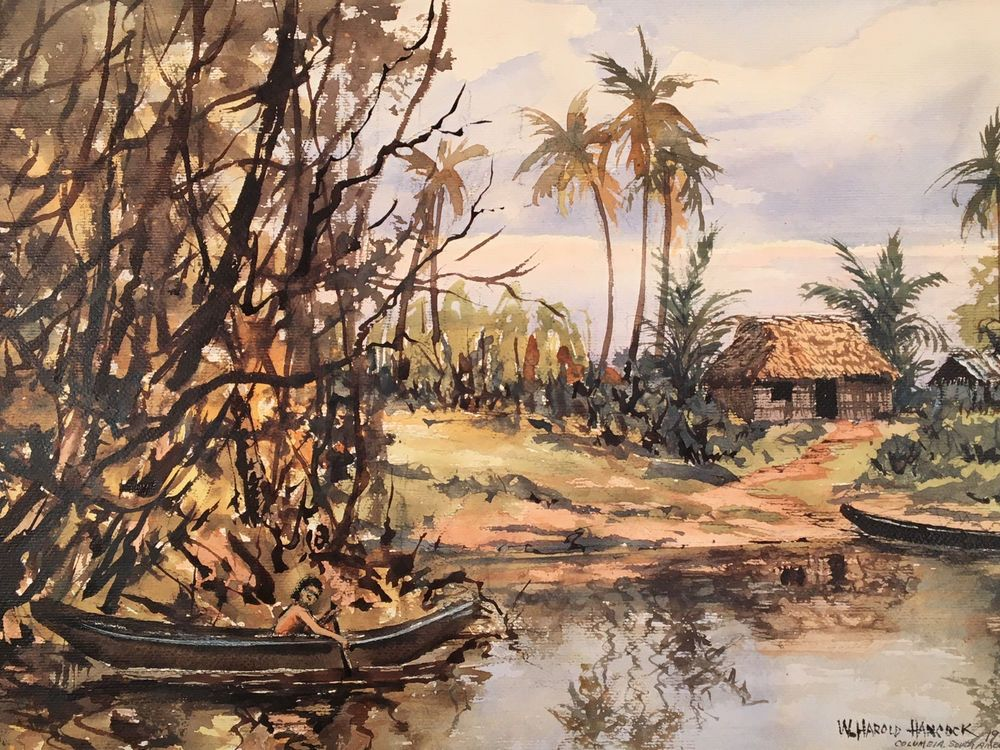 Colombia South America Jungle Painting By W Harold Hancock Colombia South America Painting South America