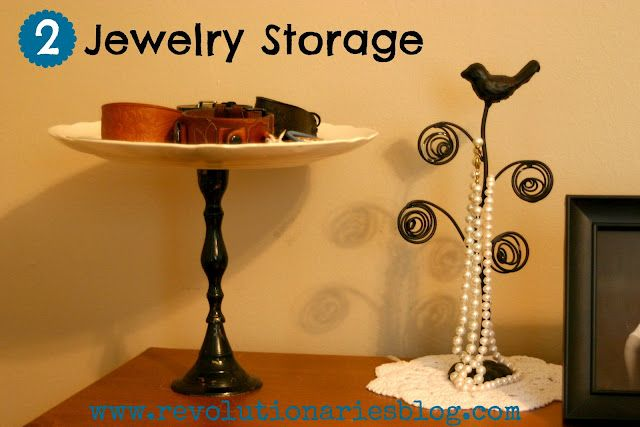 Revolutionaries: Storage Ideas for Jewelry. Hot glue an old plate and candlestick together to hold bracelets!