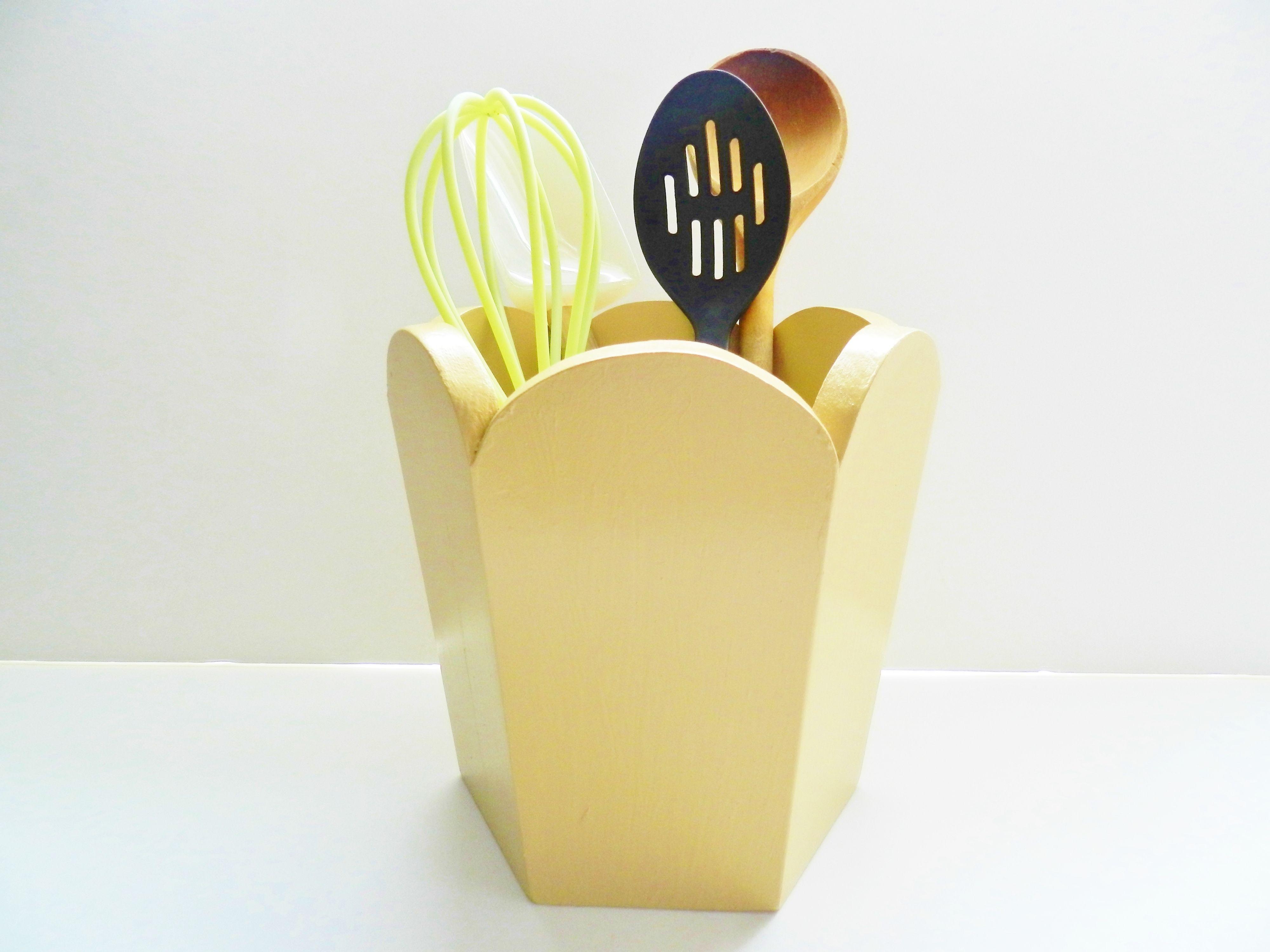 Our handmade honey gold utensil holder, planter, kitchen storage, kid storage, etc