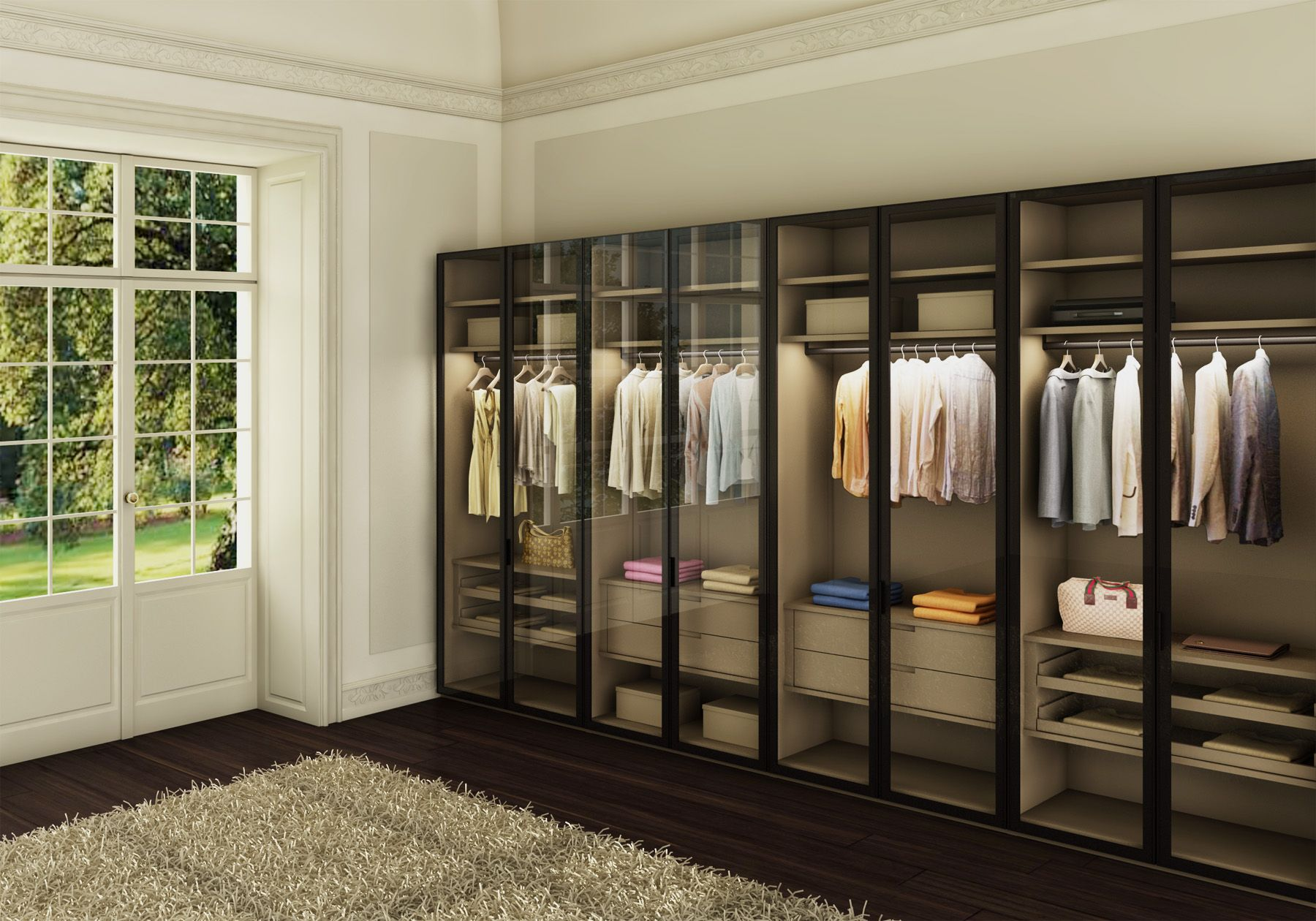 Atlante Wardrobe With Wind Hinged Doors In Tempered Transparent