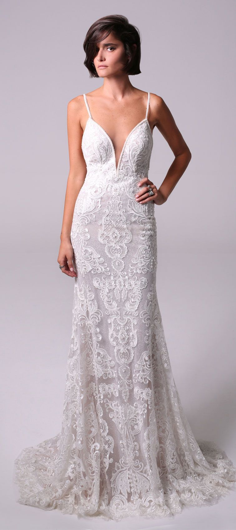 Low back lace mermaid wedding dress  Michal Medina  Wedding Dresses  Mermaid wedding dresses