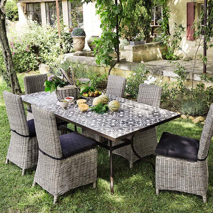 Table carreaux de ciment maisons du monde tables for Table de jardin en ciment