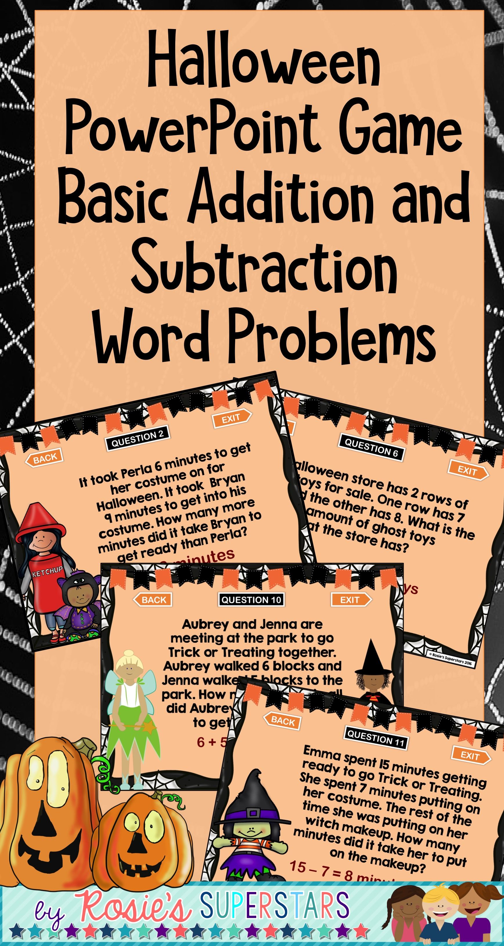 Halloween Word Problem Powerpoint Game Basic Addition And