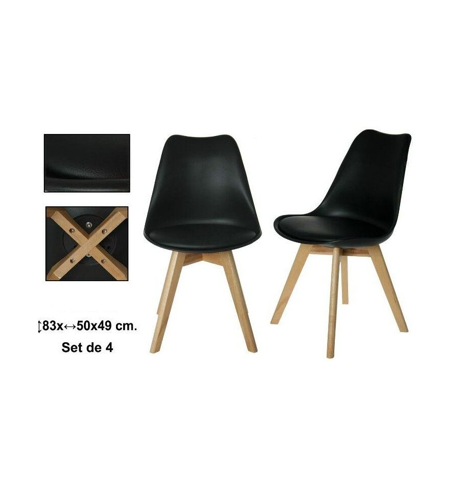 Sillas negras con patas de madera son muebles auxiliares - Son muebles auxiliares ...