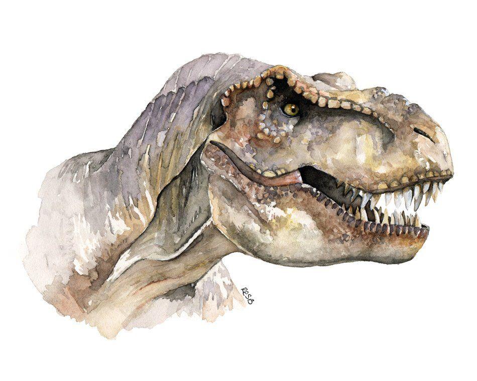T-Rex Painting, Dinosaur, Dinosaur Painting, Dinosaur Head, Dinosaur Art, Tyrannosaurus Rex, Trex, T-Rex Art, Printed Titled T-Rex