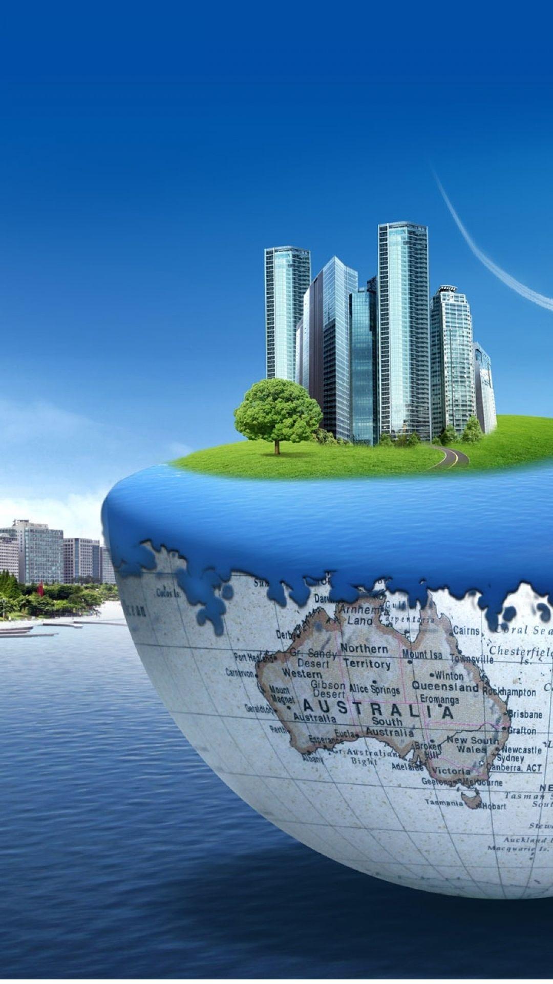 floating 3d world concept