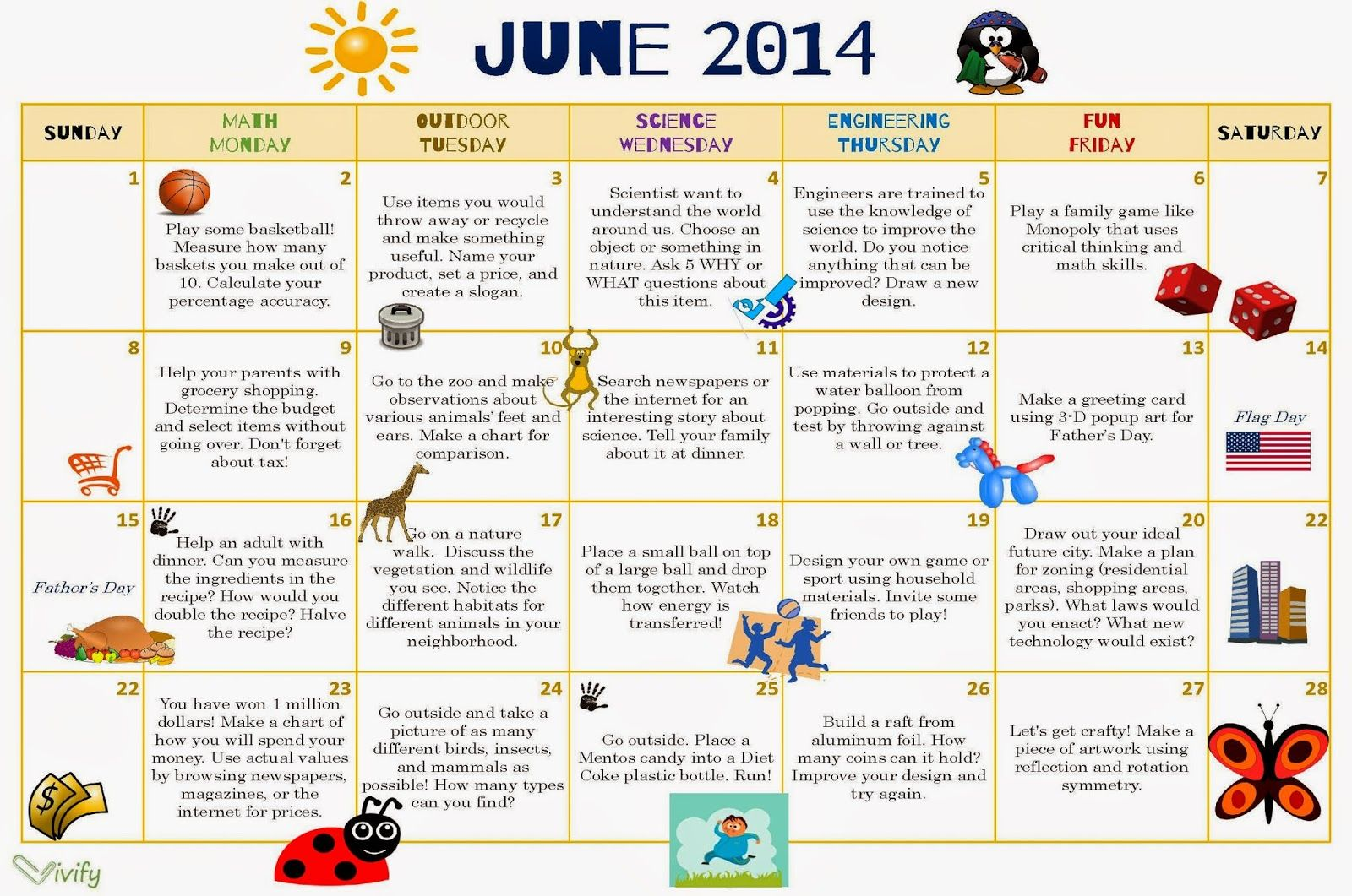 Calendar Ideas For Elementary : Stem summer activity calendar fun with math science and