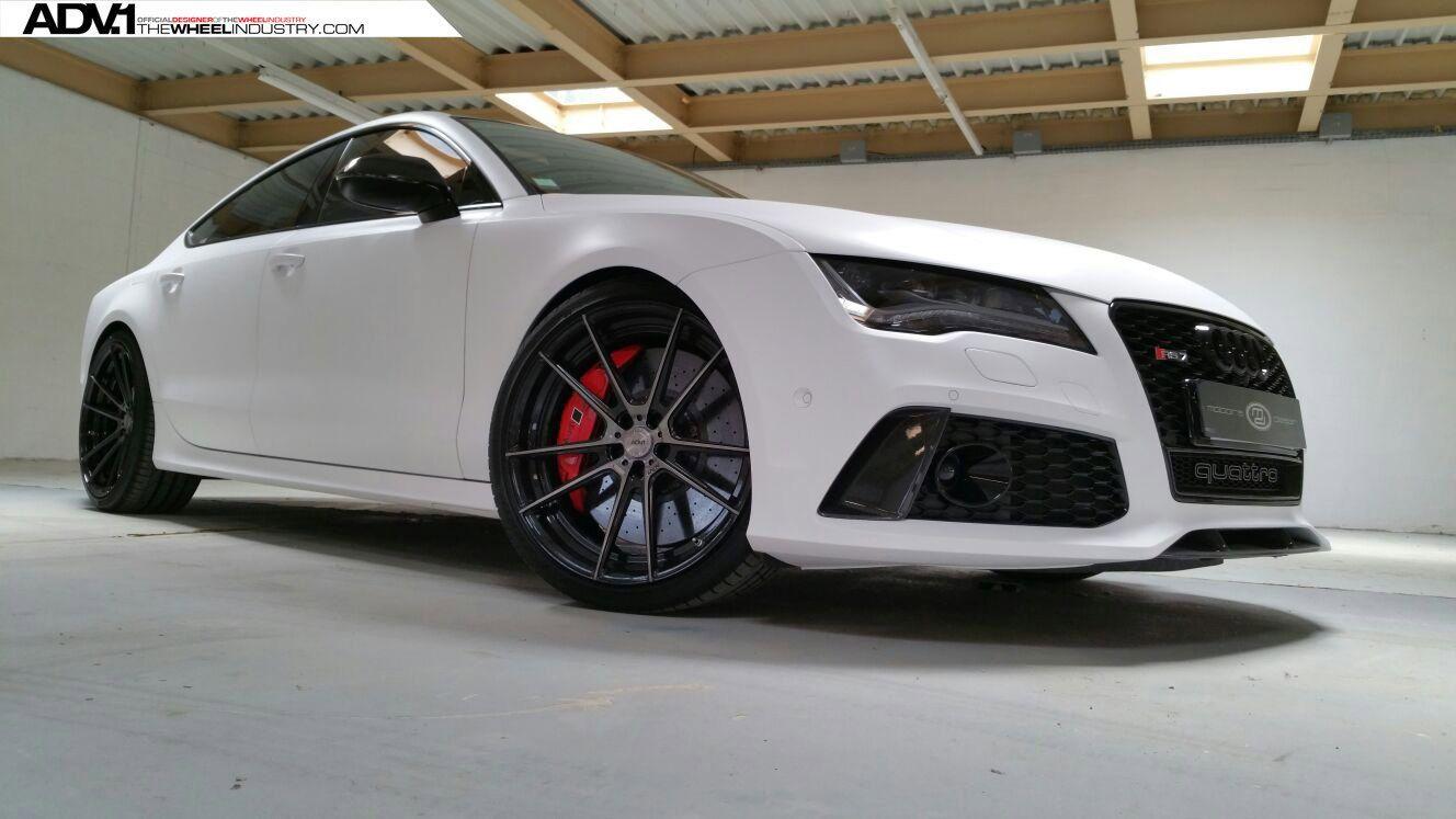 Stunning Matte White Audi Rs7 Sitting On Black Adv1 Custom Wheels