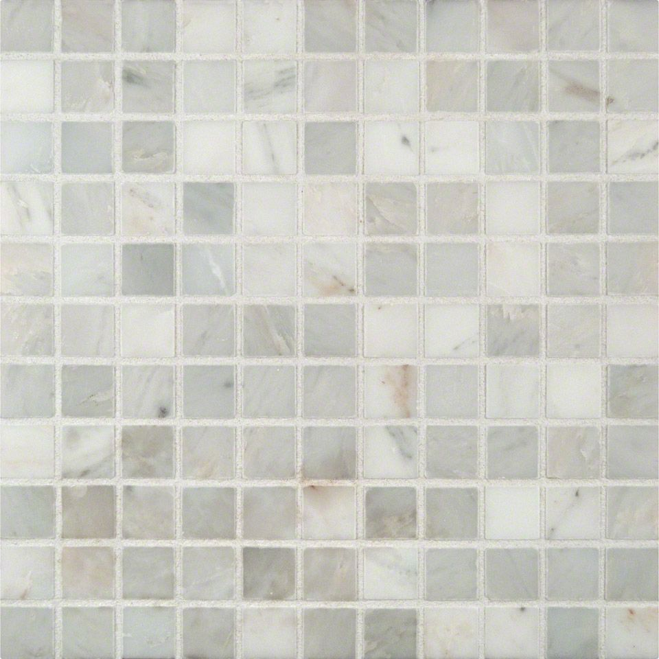 Arabescato Carrara 1x1 Honed In 12x12 Mesh Tiles Glass Mosaic Tiles Carrara
