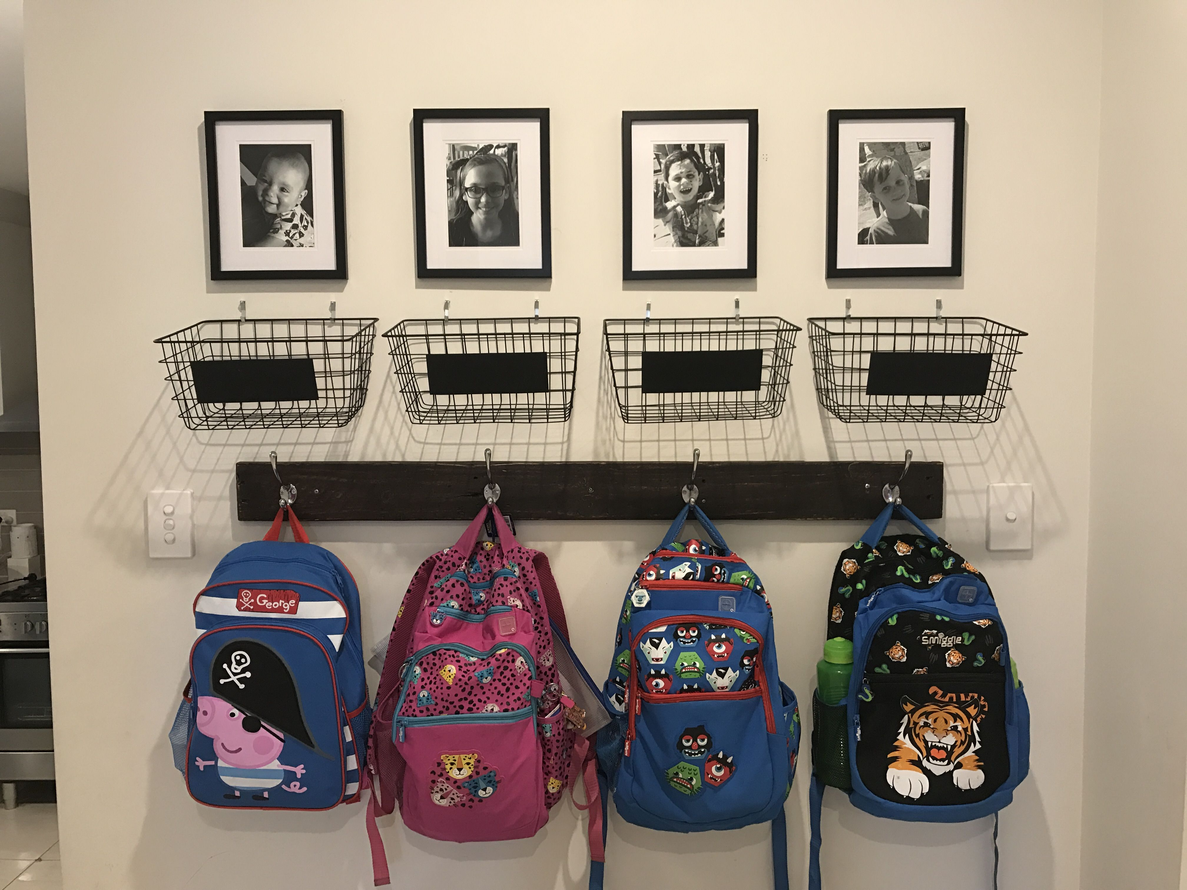 School Bag Storage Baskets From Kmart For School Notes And A Photo Above Each Hook Total Cost 50 Opbevaring Ideer Opbevaring Bryggers Ideer