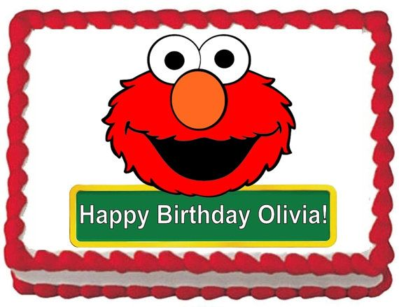 Elmo Edible Cake Images : ELMO Edible Image Cake Topper for 1/4 sheet or 1/2 sheet ...