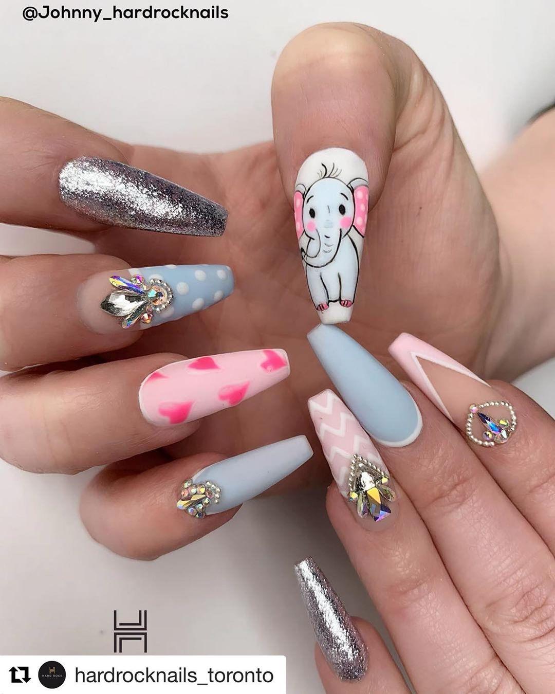 Repost Hardrocknails Toronto With Get Repost Who S Love Elephant Hardrocknails Toronto Coffin Nails Designs Ballerina Nails Elephant Nails